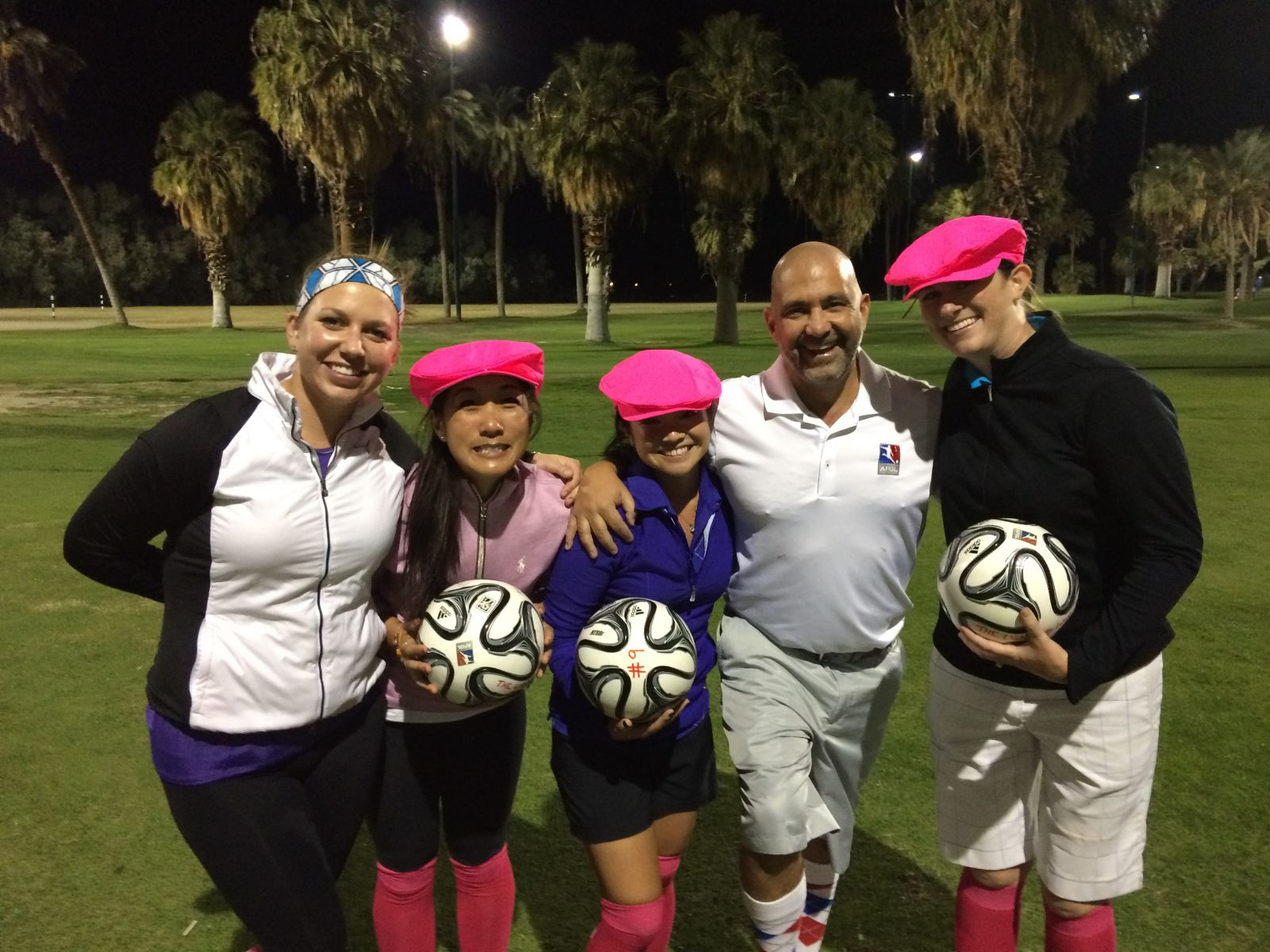FootGolf players pose for a picture during their round at The Light at Indio