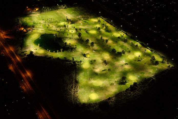 Aerial view of The Lights at Indio Golf Course at night